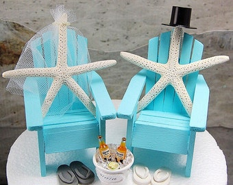 "Beach Wedding Topper Fits 6"" Cake Top Rustic Starfish/Honeymoon Coronas Custom Made To Order Your Colors Personalized!"