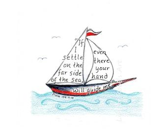 Sailboat digital download, scripture art design, bible verse, hand lettered typography, printable art