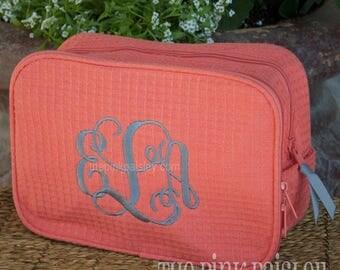 Monogrammed MakeUp Bag   Bridesmaid Gift   Cosmetic Bag   Waffle Weave Bag