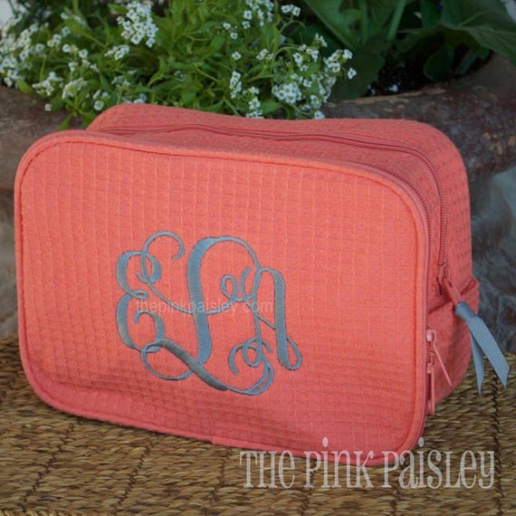 Monogrammed MakeUp Bag | Bridesmaid Gift | Cosmetic Bag | Waffle Weave Bag