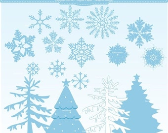 ON SALE snowflake clipart, snow day clip art ,winter Christmas Snow clip art,winter snow clip art, blue christmas tree