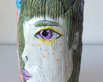 Colorful Handmade Ceramic Cup with Green Girl and Hearts
