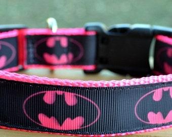 pink batman on hot pink webbing dog collar & or leash