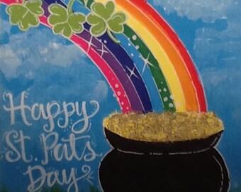 St. Patrick's Day print rainbow shamrocks