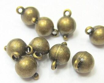 50 Antique bronze ball dangles  5mm x 9mm jewelry loop drop  jewelry supplies gypsy jewelry charm Bus452-(Z7)