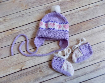 Newborn Hat and Booties Set, Baby Girl Hat, Knit Earflap Hat, Purple Knit Baby Booties