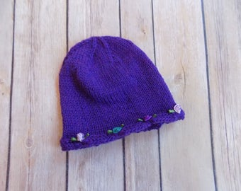 Newborn Baby Girl Hat, Knit Baby Beanie, Purple Knit Hat, Baby Girl Clothes