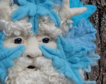 Needle Felted Old Man Winter One-of-a-kind Soft Sculpture by Bella McBride Greenman