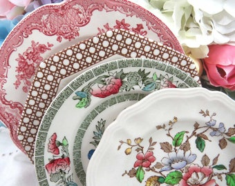 """Set of 4 Vintage Mismatched 6-1/2"""" Dessert Cake Bread Colorful Ironstone China Plates, Mix & Match for Weddings, Parties, Everyday Use BB54"""