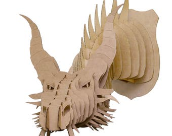View cardboard animal large by cardboardsafari on etsy for Cardboard dragon template