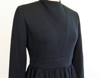 60s Mod black wool gabardine Ann Fogarty dress size medium
