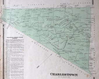 Original 1873 Chester County Pennsylvania Atlas map of Charlestown Township Pickering  Hand Colored