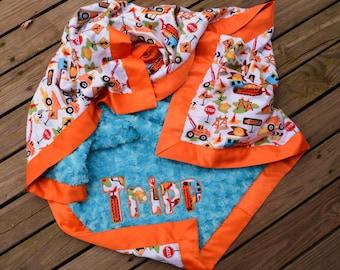 Baby Boy Blanket,Construction,Dig It,Personalized Blanket,Monogrammed Blanket,Turquoise Minky,Satin Binding,Applique,Crib Blanket,Baby Photo