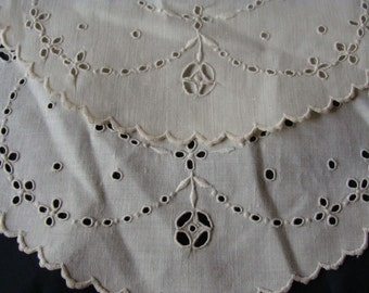2 Antique Linen Buttonhole and White on White Embroidery Doilies