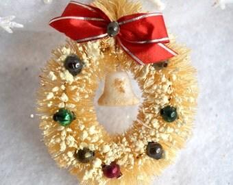 "Vintage Christmas Ornament - White Bottle Brush Wreath - Mini 3"" Size"