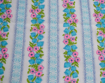Vintage Fabric - Mod Pink and Turquoise Flower Stripe - Sheer Curtain Fabric - 44 x 44
