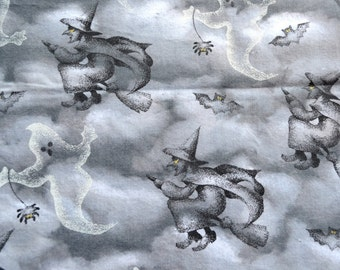 Vintage Pillowcase - Halloween Ghosts and Witches on Brooms - Standard Size