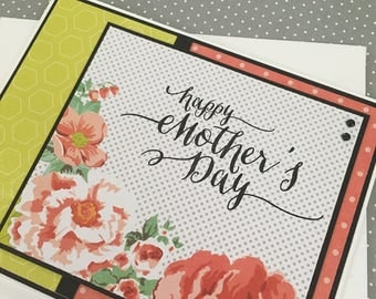 Happy Mother's Day with Floral Design - Handstamped Mother's Day Card