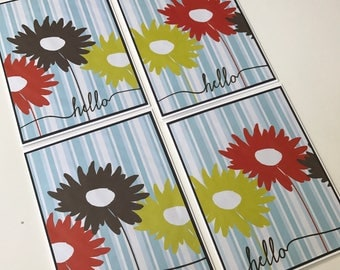 hello on blue/white striped paper with big flowers - set of 4 notecards - handmade greeting cards