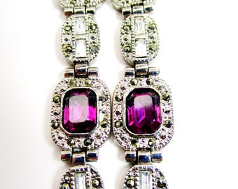 """Vintage Crystal Amethyst Marcasite Baguettes 3"""" Mother's Day Bridal Dangle Earrings 3"""" Long Art Deco High Fashion Spring Summer Statement"""