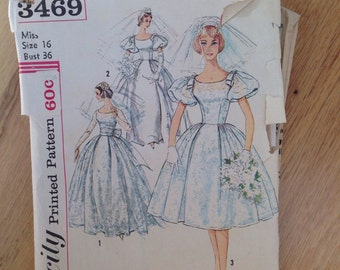 Vintage Simplicity 3469 Wedding Dress- size 16