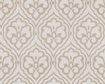 Fabricut Aspire linen, beige, embroidery, drapes, damask, Designer drapes, rod pocket curtain panels, lined drapes