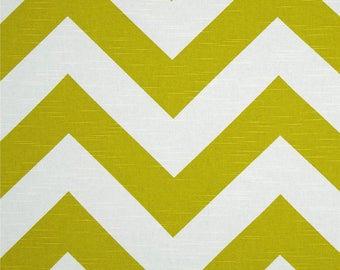 Custom made Designer fabric shower curtain Large scale zigzag chevron, peridot, citrine green and white