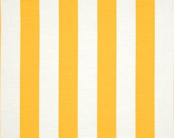 A pair ( two 50W x 90L panels) Yellow and white stripe, cotton drapees, curtains, yellow drapes