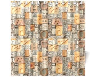 vintage metal and wood letterpress type shower curtain alphabet letters fonts graphic designer