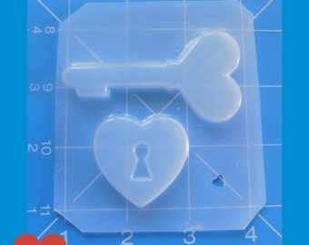 SALE Vintage Style Heart Key And heart Lock  Handmade Plastic Mold