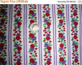 """SALE:) Vintage 1930's 40's Full Feed Sack Cotton NOVELTY Fabric - Purple and Red Flowers with Purple RickRack  - 35 x 46"""""""