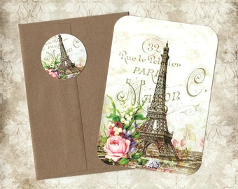 Note Cards, French Style, Eiffel Tower, Roses, Blank Cards, Stickers, French Cards