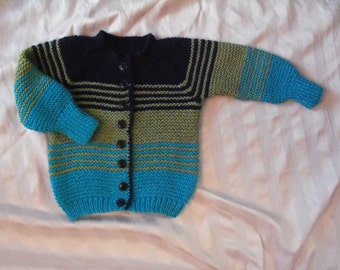 READY TO SHIP** Hand knit cardigan navy blue, turquoise, olive green child size 2 - 3