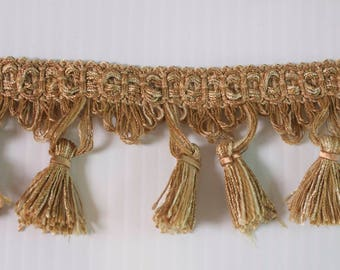 "Gold Color Tassel Designer Trim 2.5"" Long for edging curtains/cushions/throws/valances/Craft/Upholstery/Lampshades"