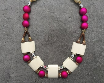 Stunning Statement Beaded Modern Tribal Collar Necklace with Bone, Wood, Pearls and Hot Pink Fuchsia Beads