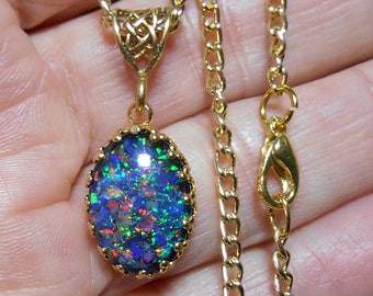Lab  opal mosaic oval cabochon pendant,  blue base  color, multicolor  fire, gold plate bezel setting with gold tone aluminum chain