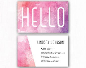 Premade Pink Business Card, Custom Business Card, Printable Business Card, Watercolor Business Card, Calling Card, Branding Card