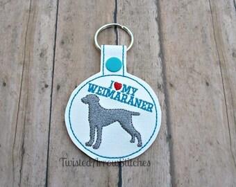 I Love My Weimaraner Keychain, Key Fob, Bag Tag, Dog Key Chain