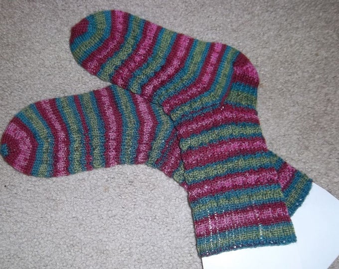 Socks - Handknitted Socks - Colors Mixed Purples and Green Selfstriping - Size Medium 7-8 US Women / 5.5-6 US Men