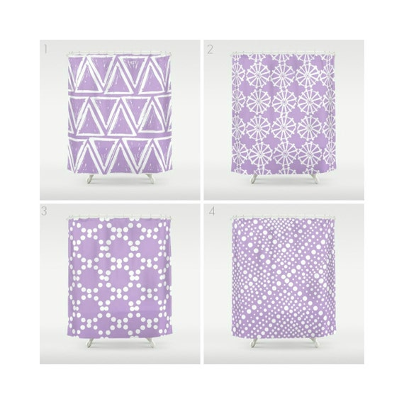 Lavender Shower Curtain - Geometric Shower Curtain - Modern Shower Curtain - Shower Curtain - Triangle Shower Curtain - Lavender and White