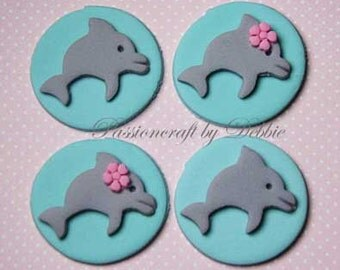 12 Fondant edible cupcake toppers - Dolphins sea life animals boy girl birthday anniversary celebration