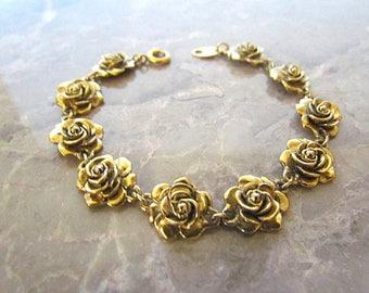 Vintage Avon Gold Tone Rose Link Bracelet