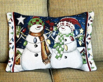 Christmas Pillow Snowmen Pair  With Lights Tapestry Christmas Decor
