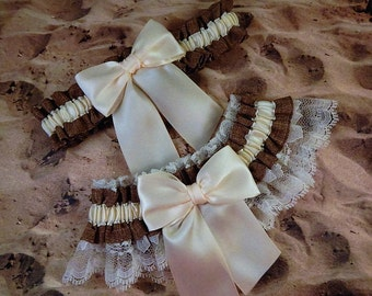 Burlap Look Linen Brown Ivory Satin Ivory Lace Wedding Bridal Garter Toss Set