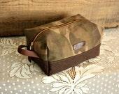 Canvas dopp kit/ medium mens toiletry bag/ canvas pouch/ mens gift/ travel kit/ leather trim - ready