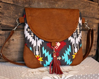 Navajo crossbody purse bag handbag messenger satchel faux leather trim--- Ready to Ship--