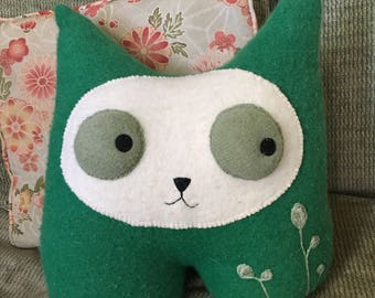 Emerald Kitty Plush hand made recycled repurposed sweater felted wool sage popping eyes green pointy ears recycled repurposed sweater felt