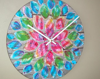 Original Art  Floral Wall Clock 12-Inch SILENT, Rainbow Dahlia Clock, Hand Painted Clock, Unique Wall Clock - 2214