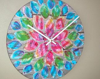NEW!  Original Art  Floral Wall Clock 12-Inch SILENT, Rainbow Dahlia Clock, Hand Painted Clock, Unique Wall Clock - 2214