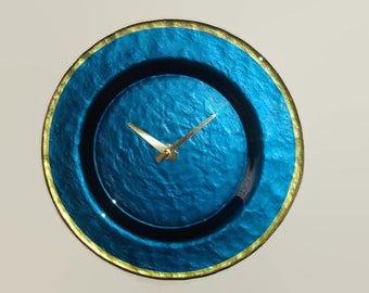 9 Inch Deep Blue Glass Plate Wall Clock, Kitchen Wall Decor, Unique Wall Clock, Deep Ocean Blue and Brass Clock - 2327